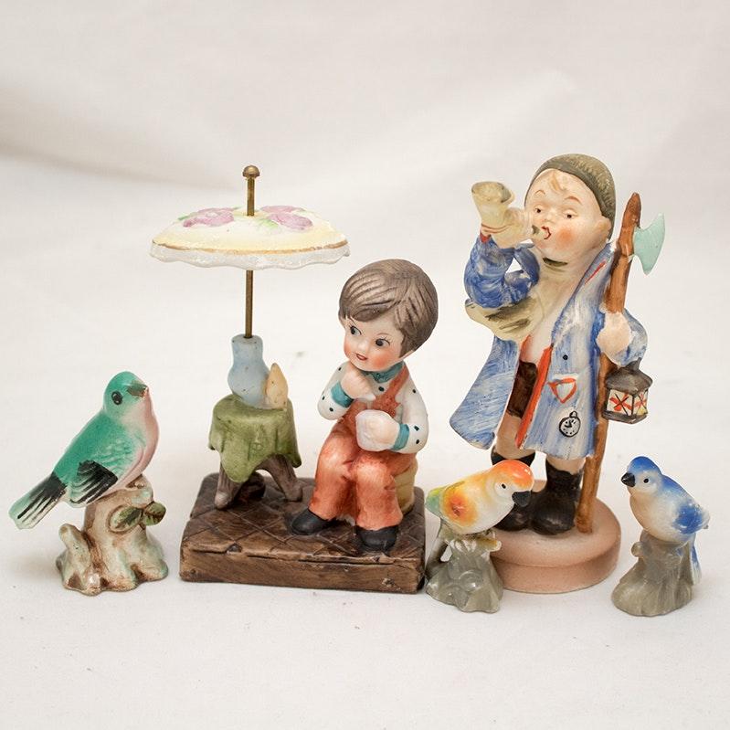 Vintage Hand-Painted Ceramic Figurines