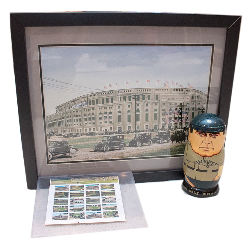 Darryl Vlasak Offset Lithograph of Yankee Stadium, Stamps and Nesting Players
