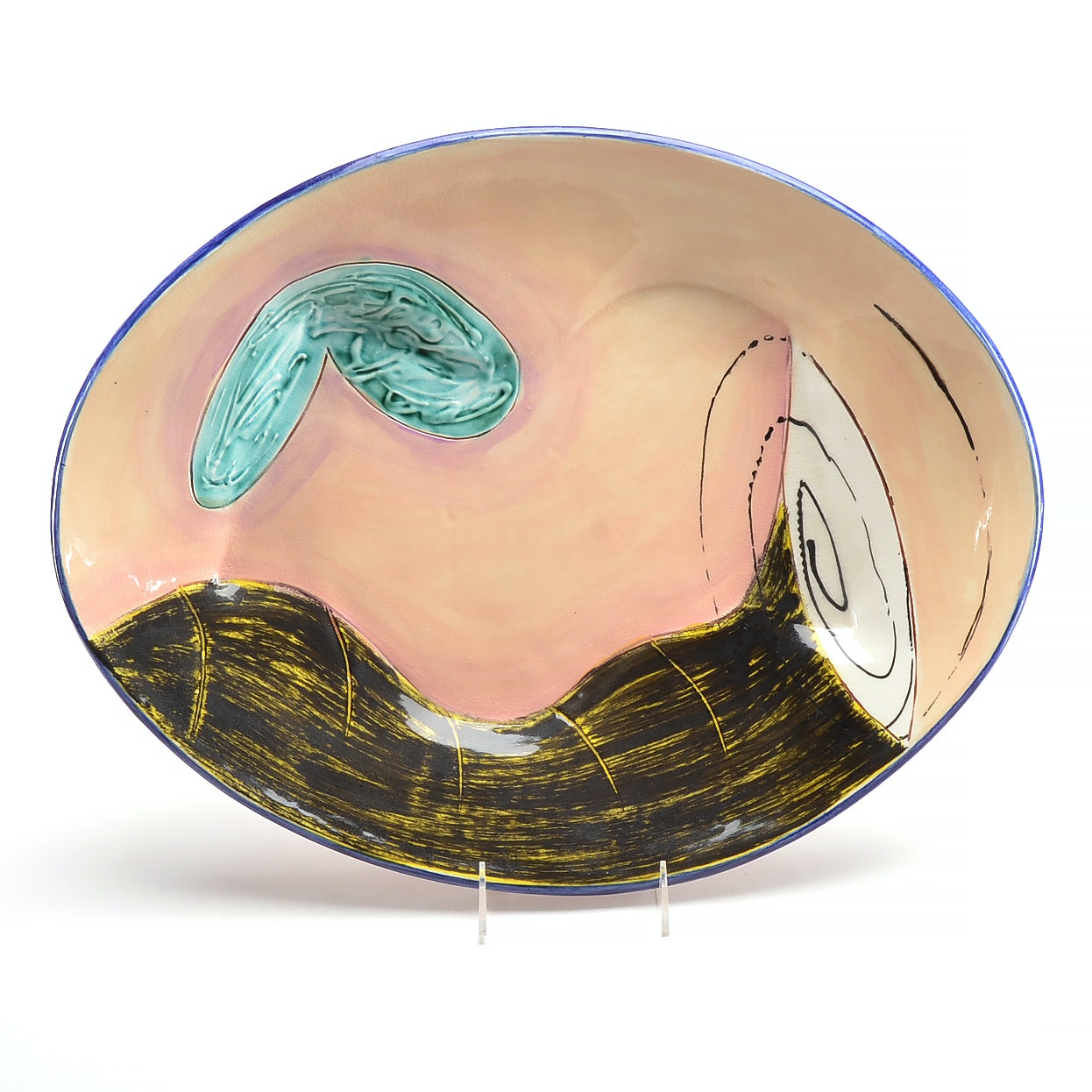 Hand-Painted Signed Ceramic Bowl