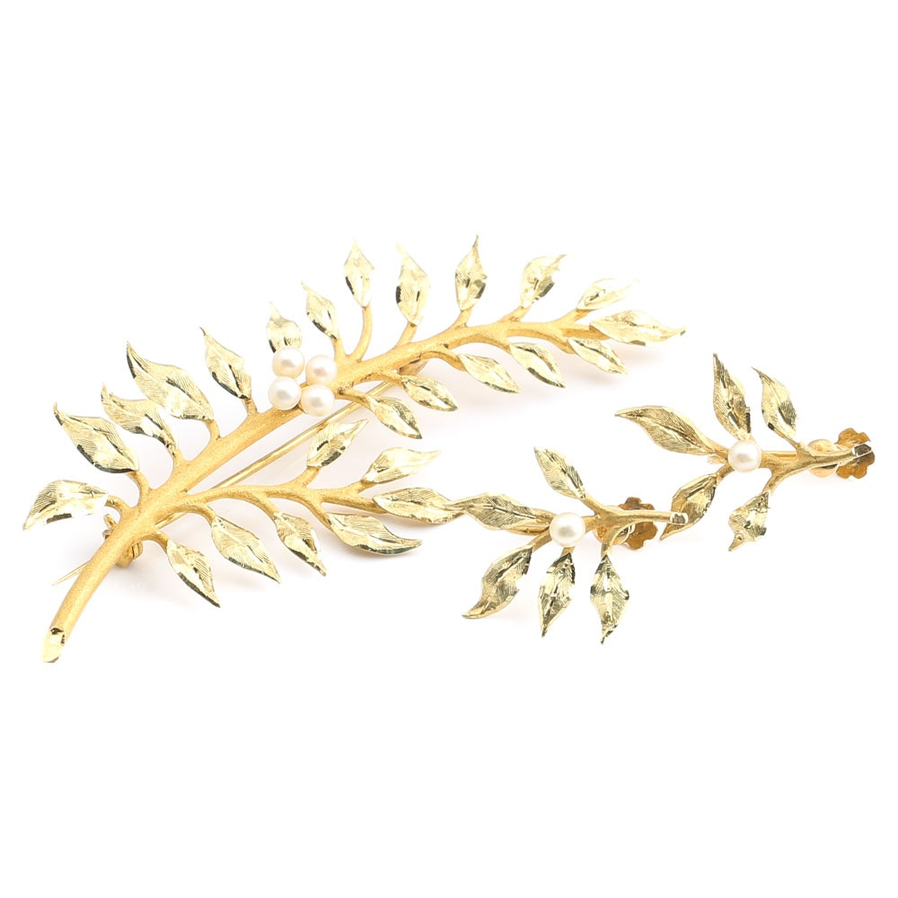 Vintage 18K Yellow Gold Pearl Floral Brooch and Earrings