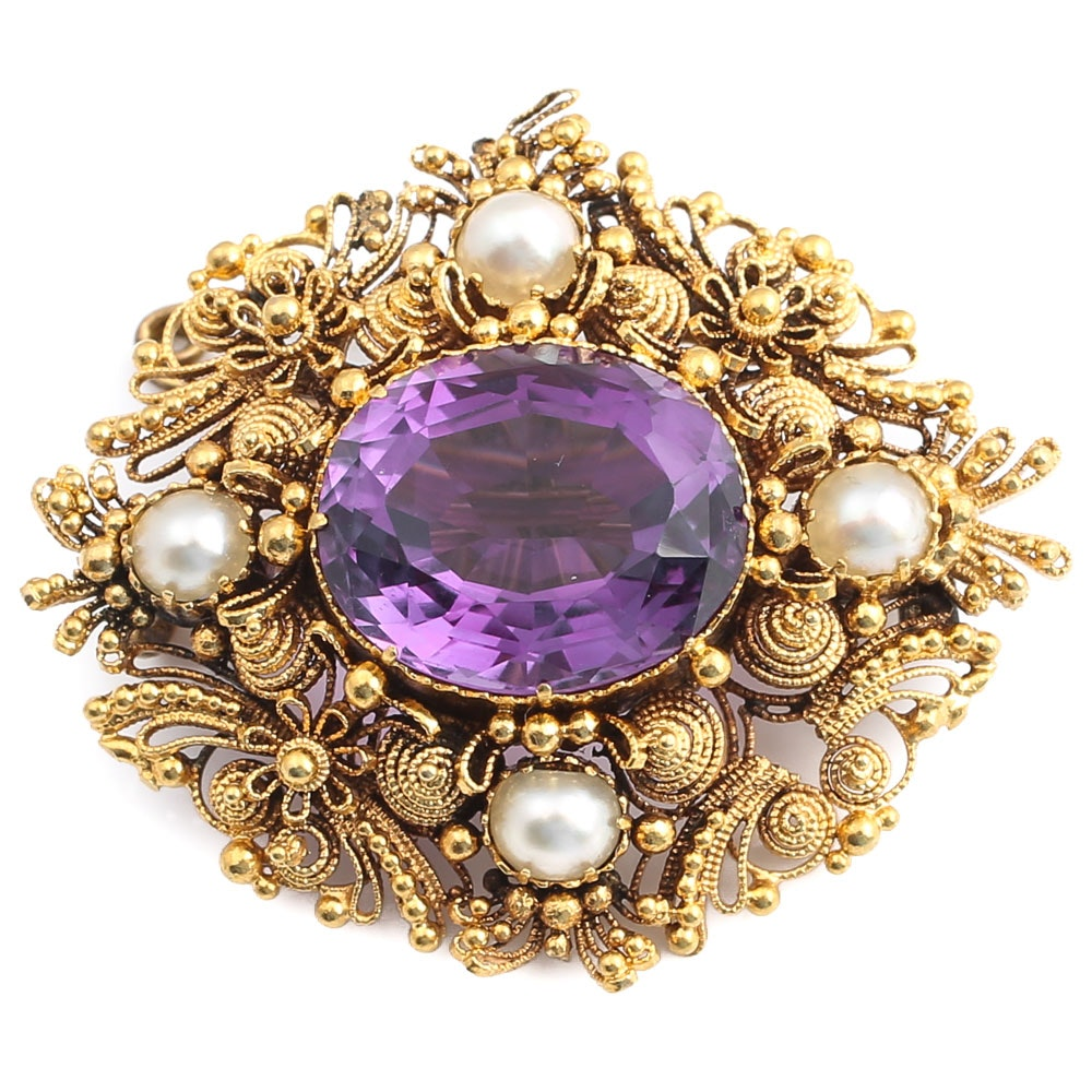 18K Yellow Gold 5.87 Carat Amethyst and Pearl Pendant