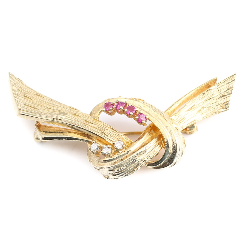 Vintage 14K Yellow Gold Ruby and Diamond Knot Brooch
