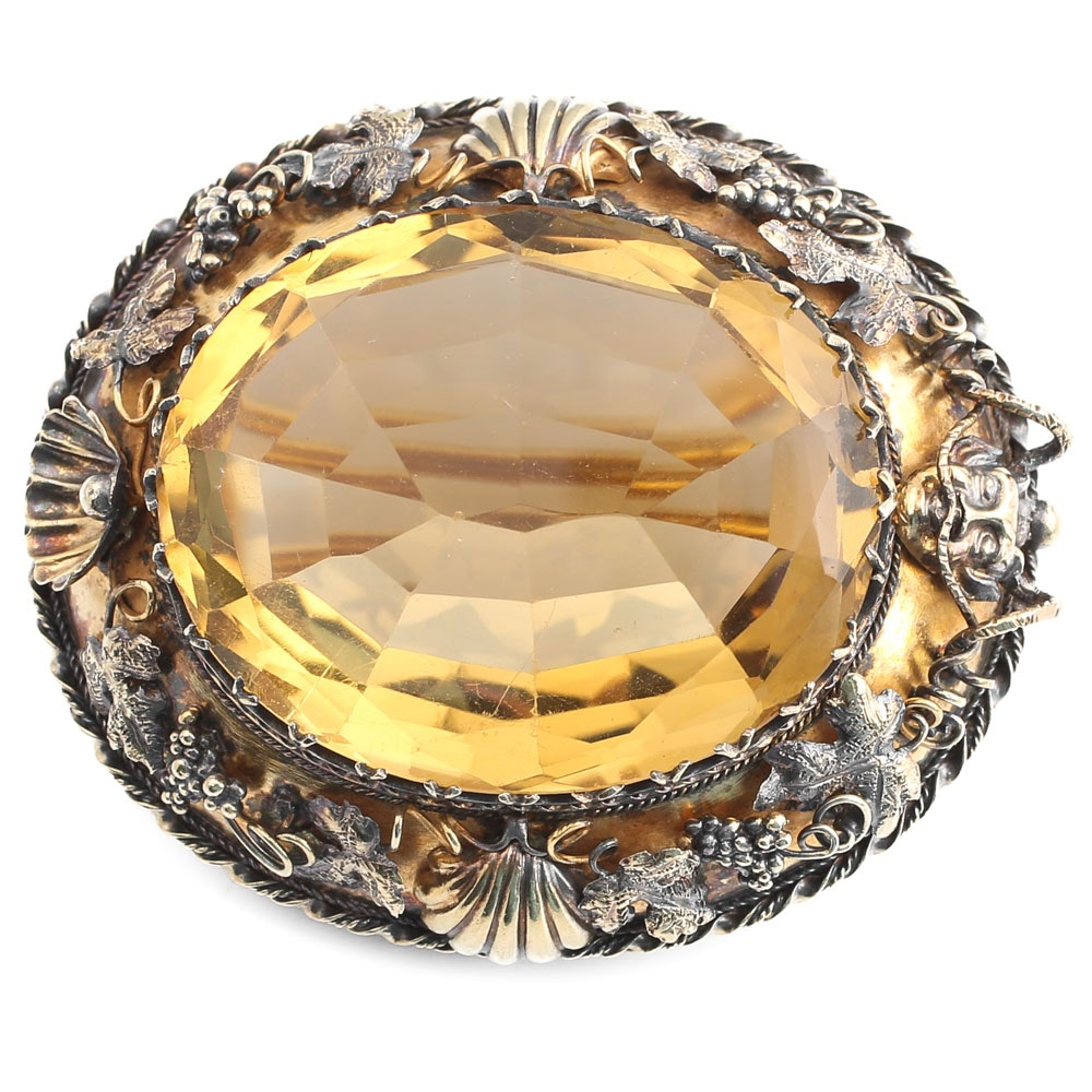 Vintage 18K Yellow Gold 31.82 Carat Citrine Brooch