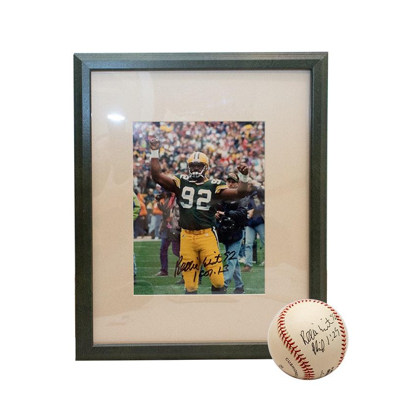 Autographed Reggie White Photo Print and Baseball