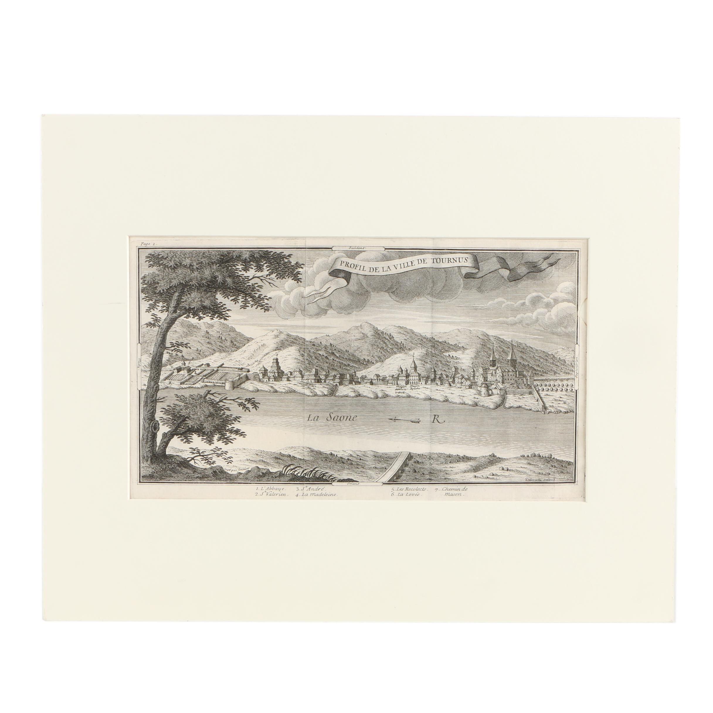 """Engraving After Dubercelle """"Profil de la Ville de Tournus"""""""