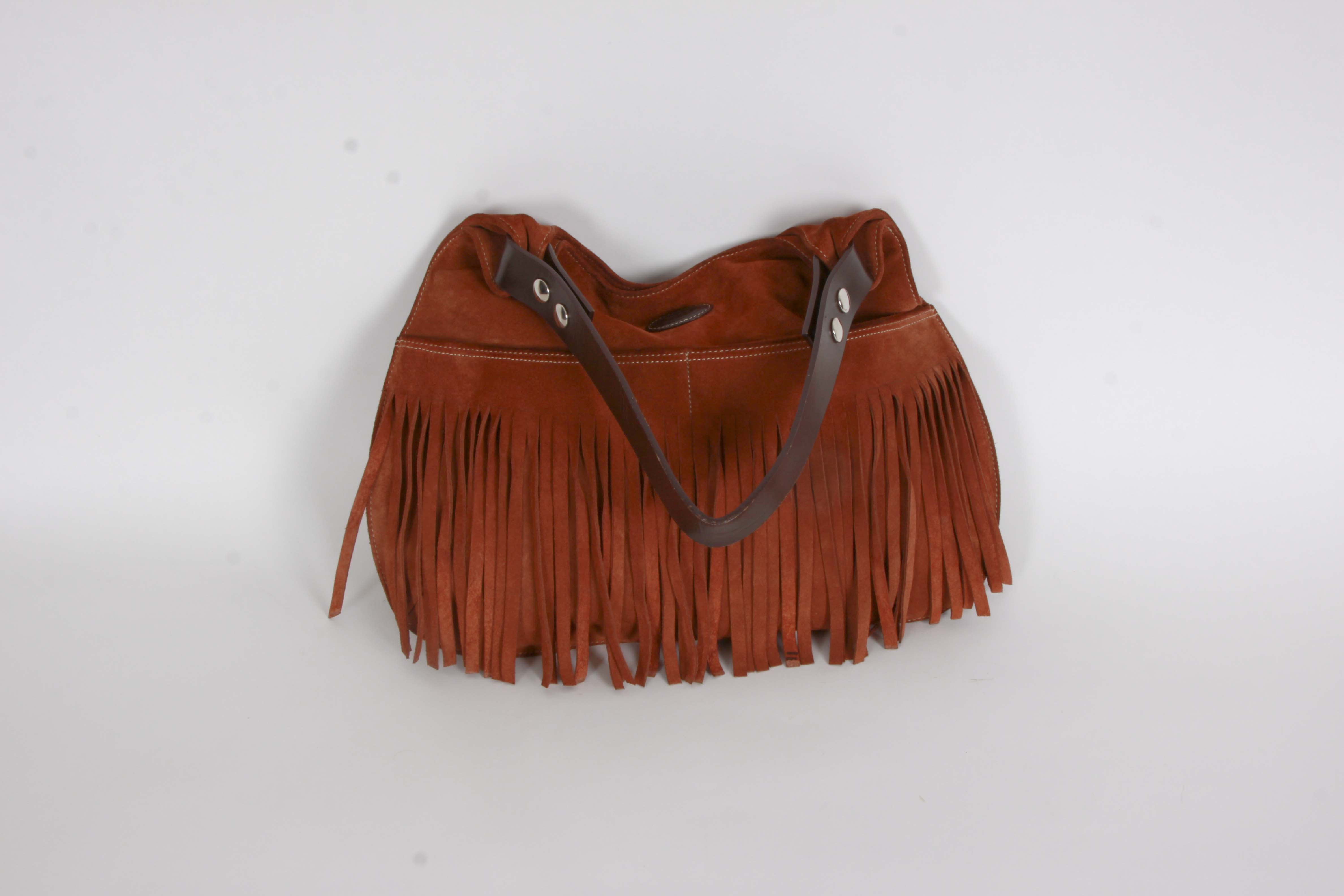 Tod's Fringed Rust Suede and Brown Leather Handbag