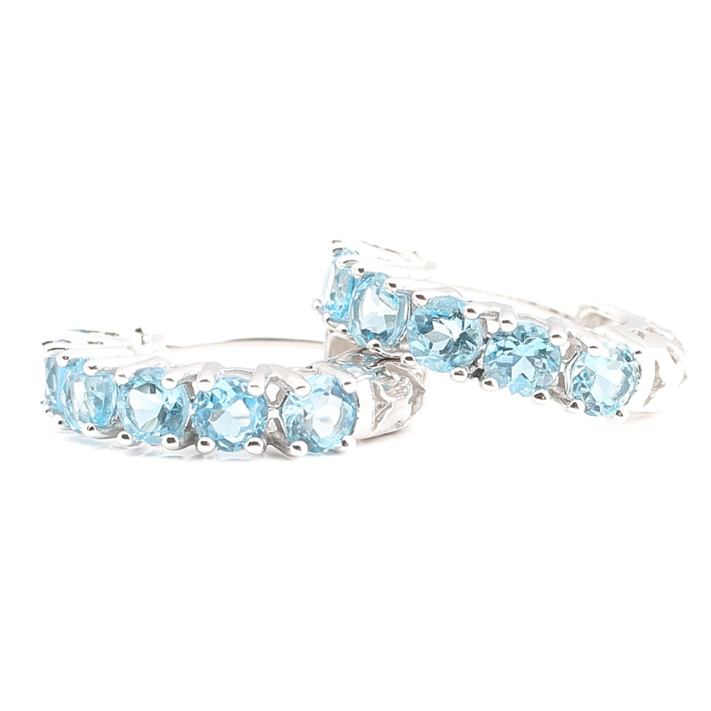 14K White Gold Blue Topaz Hoop Earrings