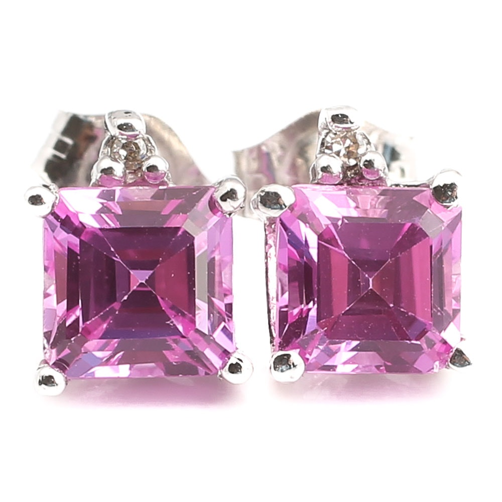 10K White Gold Synthetic Pink Sapphire and Diamond Stud Earrings