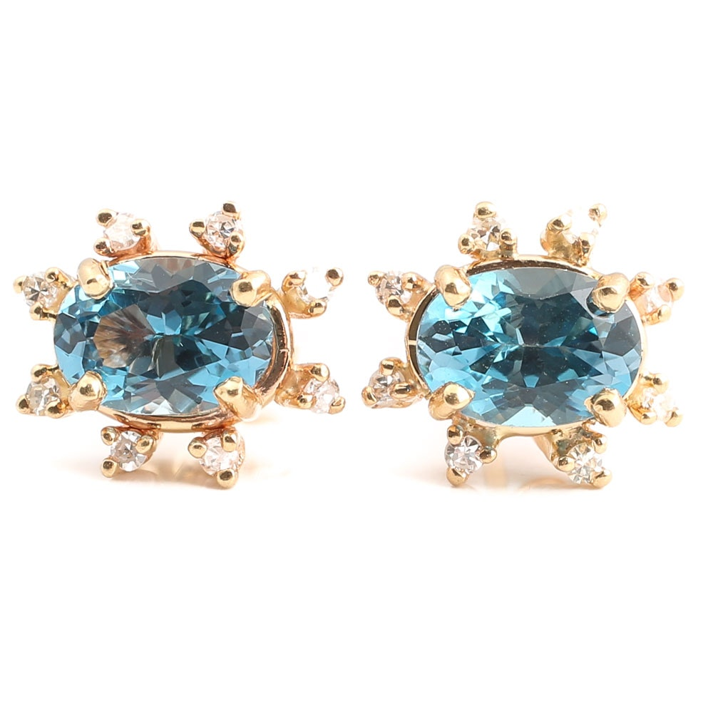 14K Yellow Gold 2.70 CTW London Blue Topaz and Diamond Stud Earrings