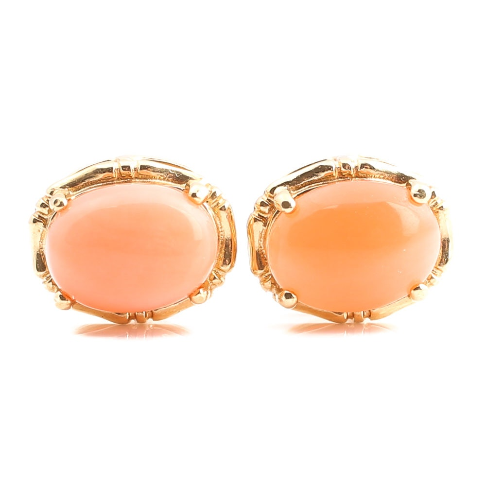 14K Yellow Gold Coral Stud Earrings