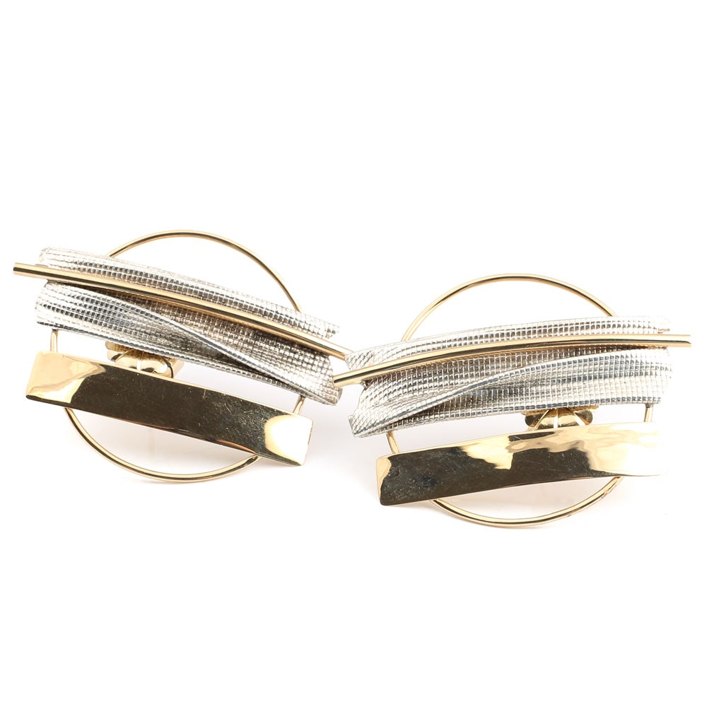 Terrell Sterling Silver and 14K Yellow Gold Artistic Earrings