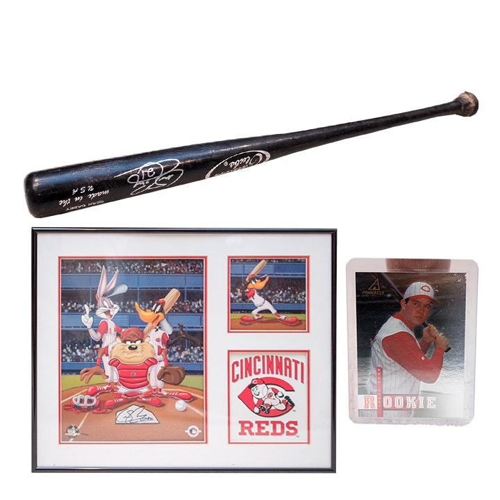 Sean Casey Rookie Card, Autographed Baseball Bat and Looney Tunes Serigraph