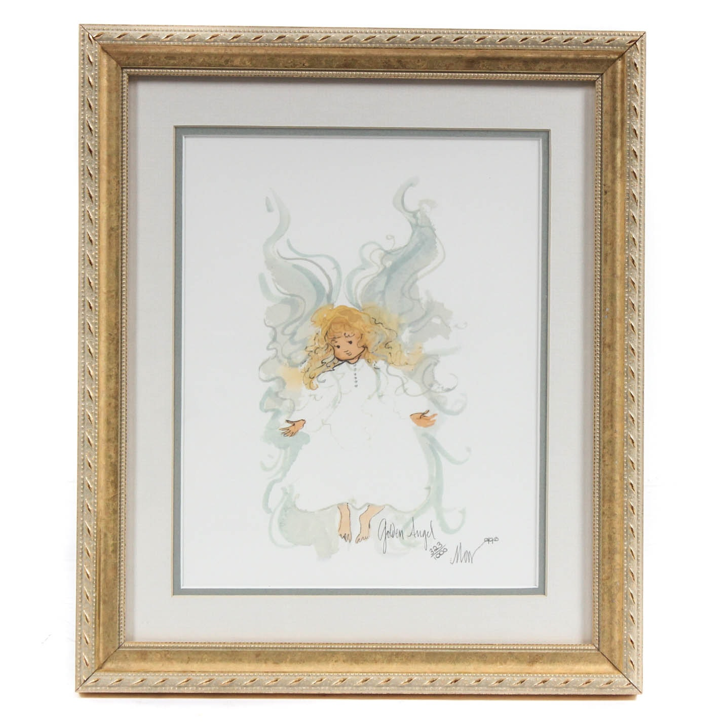 "P. Buckley Moss Limited Edition Offset Lithograph ""Golden Angel"" with Book"