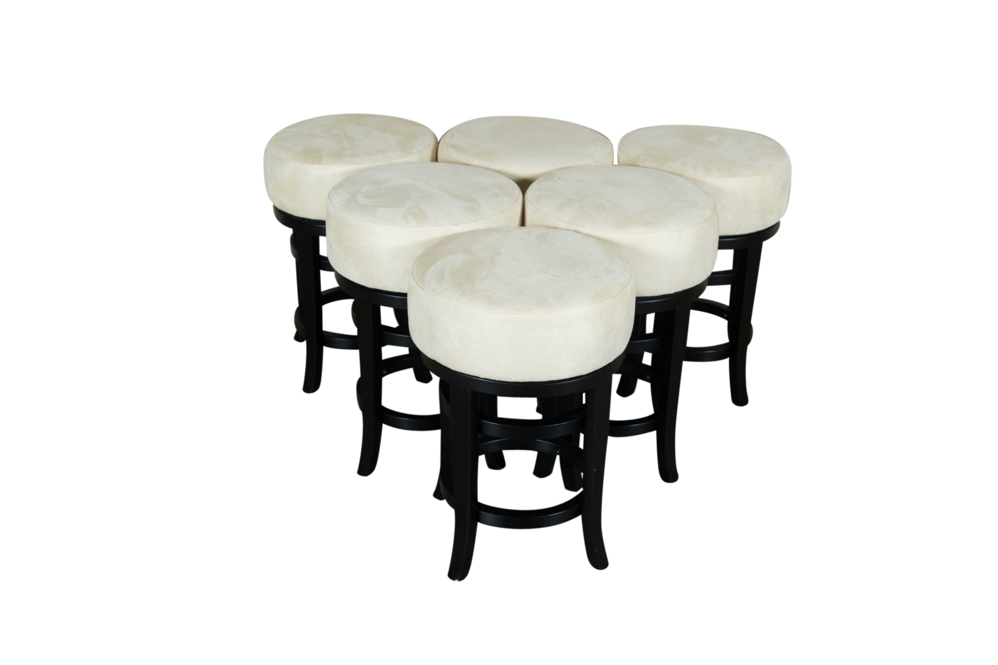 Six Cream Microfiber Upholstered Swivel Stools