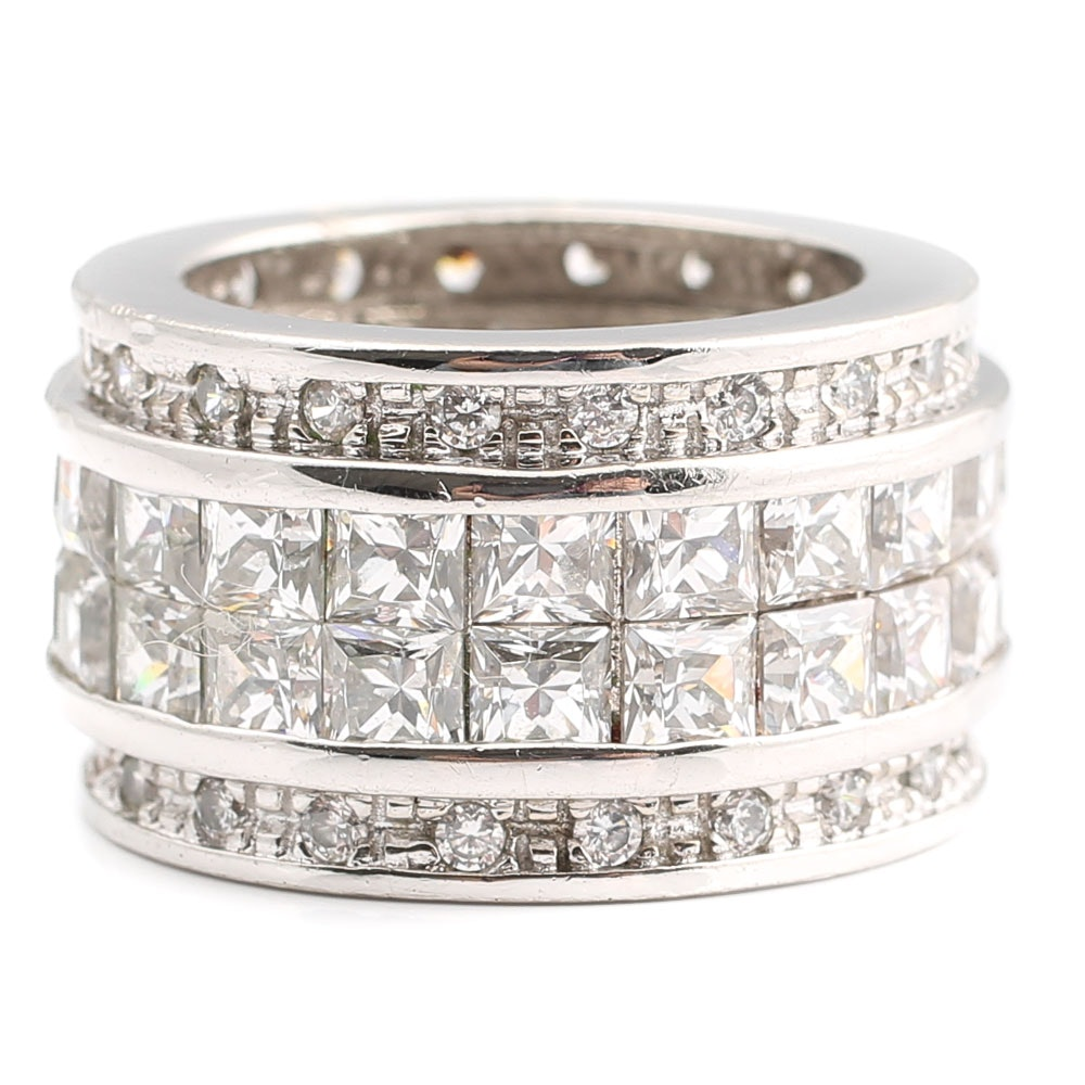 Sterling Silver 14.40 CTW Cubic Zirconia Eternity Ring