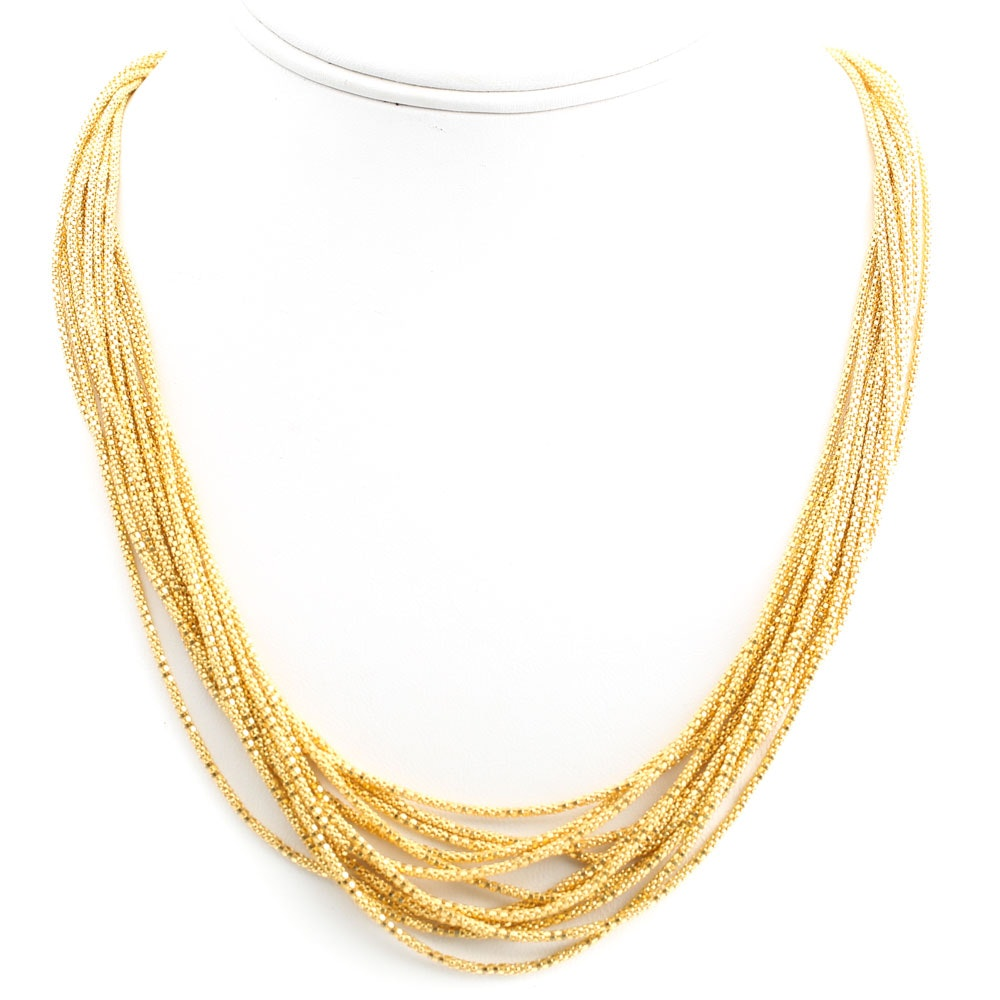 Sterling Silver Six-Strand Puff Italian Necklace with Gold Wash