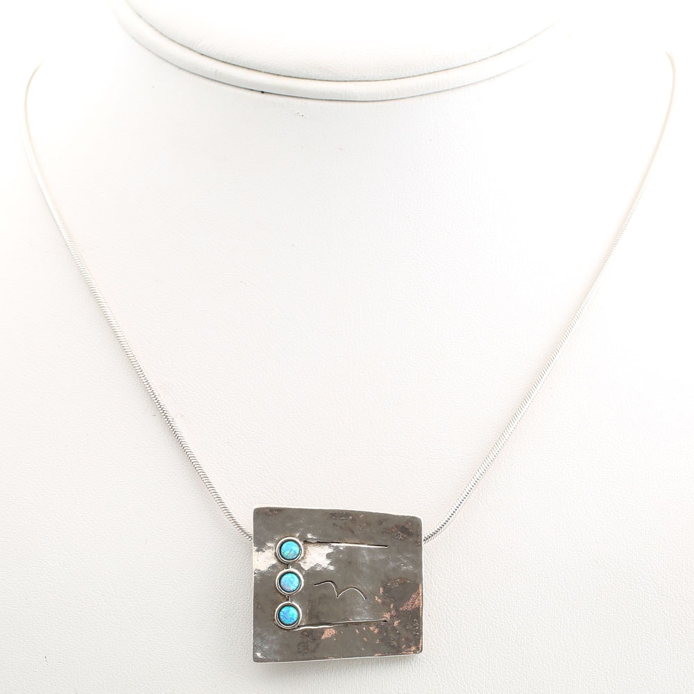 Vintage Didae Modernist Sterling Silver and Synthetic Opal Pendant Necklace