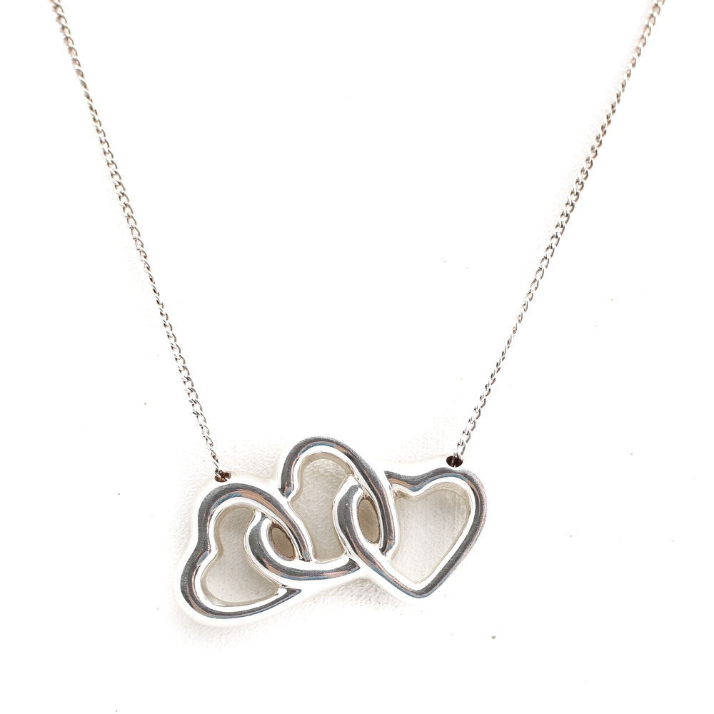 Tiffany & Co. Sterling Silver Three Hearts Inline Pendant Necklace