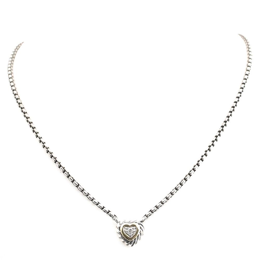 David Yurman Sterling Silver Diamond Heart Pendant with 18K Yellow Gold Accents