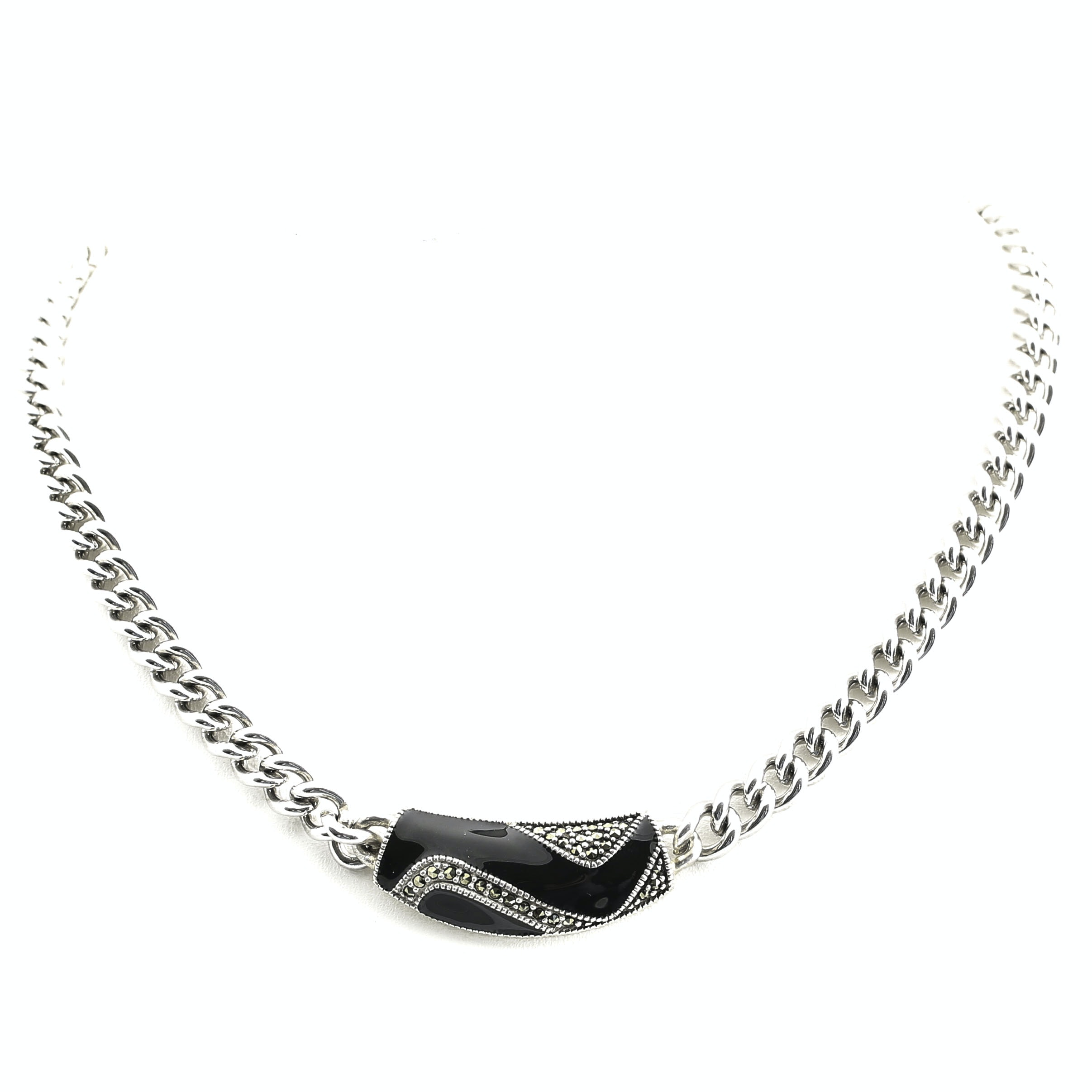 Vintage Sterling Silver Marcasite and Enamel Curb Chain Necklace