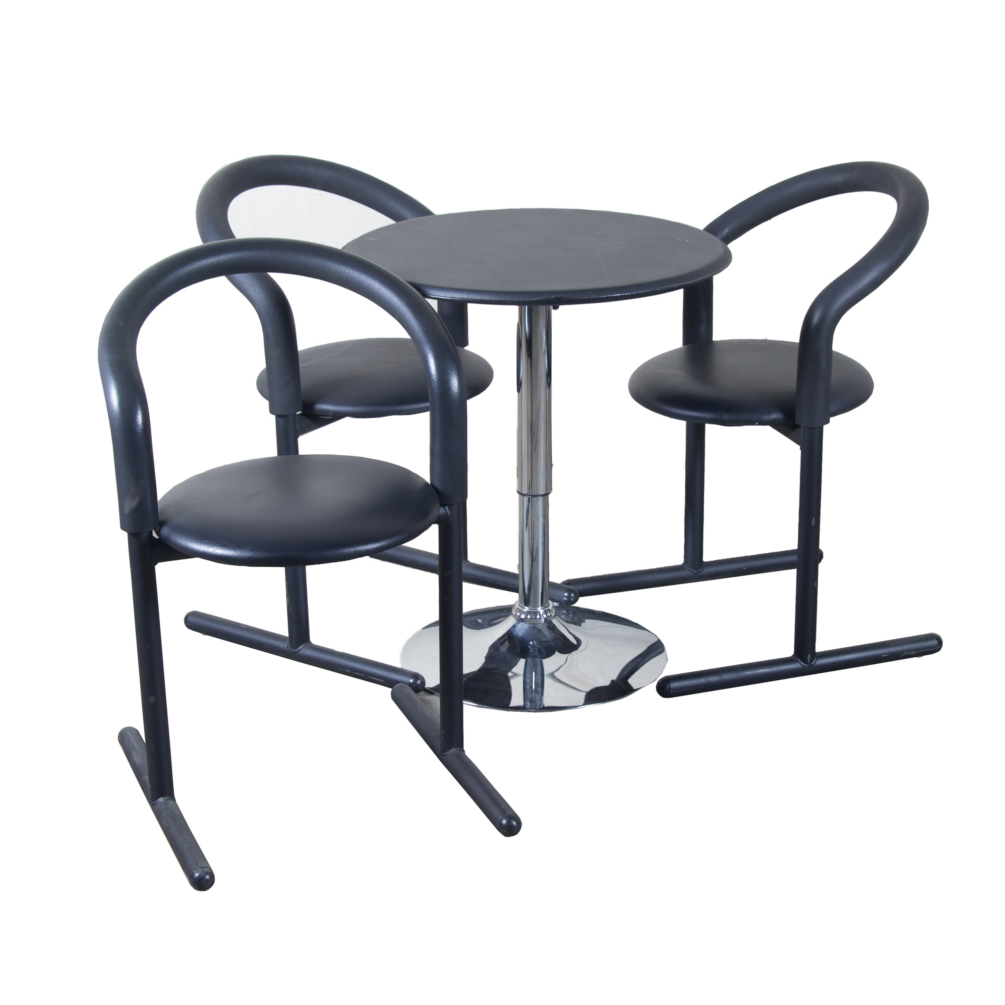 Modern Black Metal and Vinyl Table With Stools