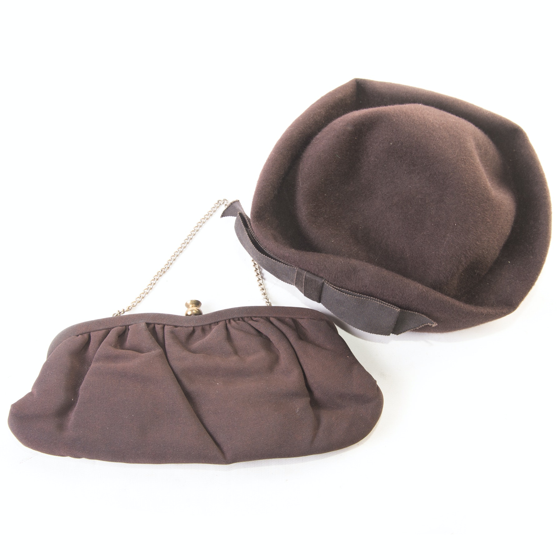 Vintage Wool Pillbox Hat and Clutch