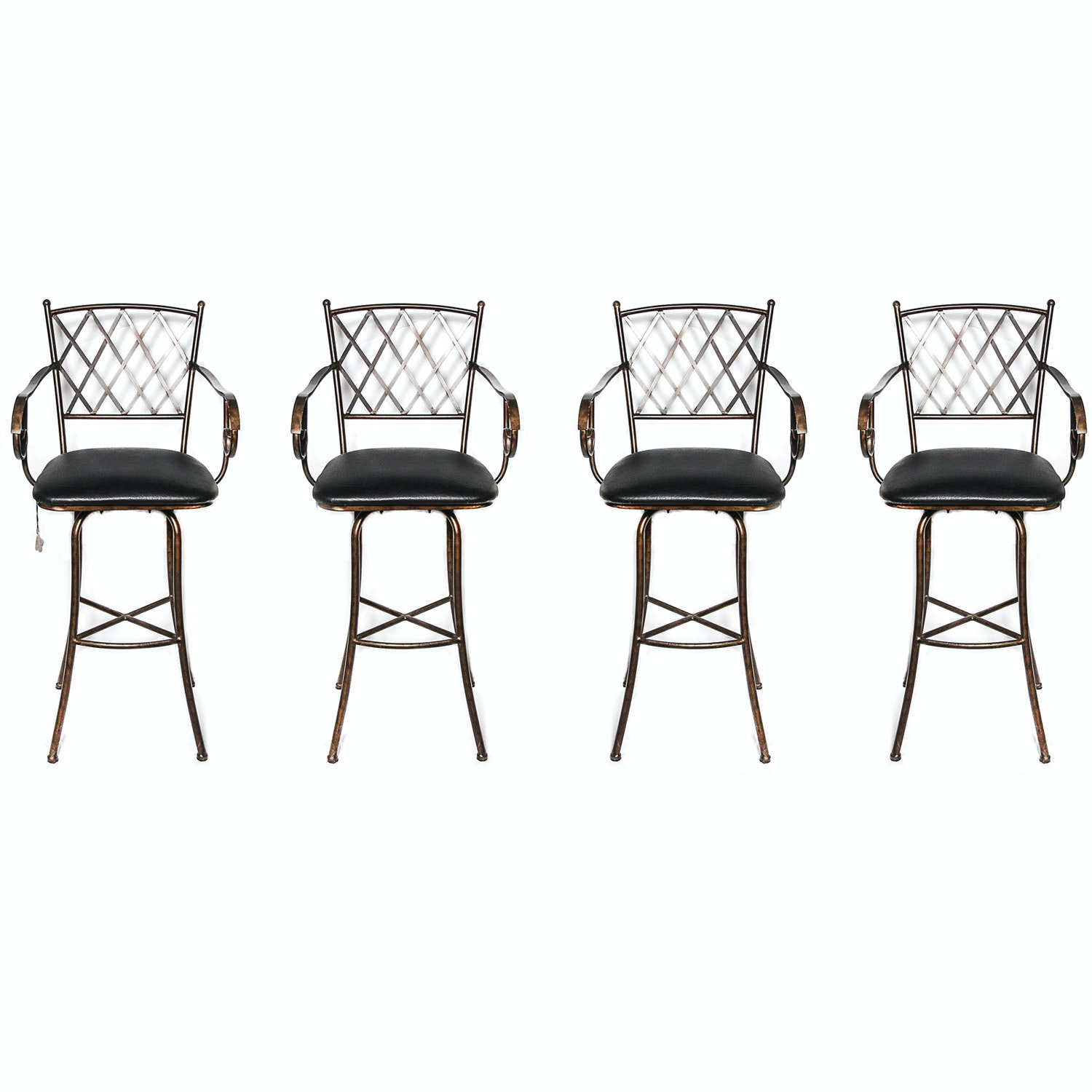 Set of Four Wrought Iron Style Barstools with Leather Upholstery