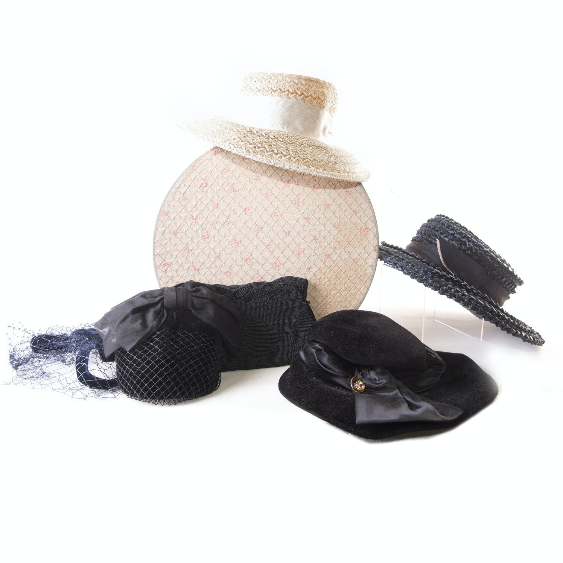 Vintage Hats, Clutch with Hat Box