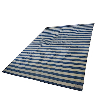 Handwoven Blue and White Striped Wool Area Rug