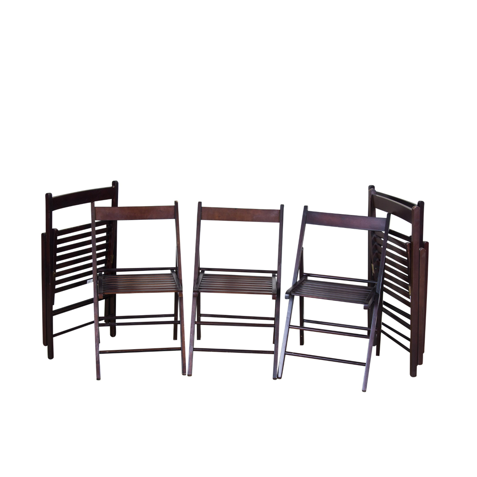 Six Slatted Wooden Folding Chairs
