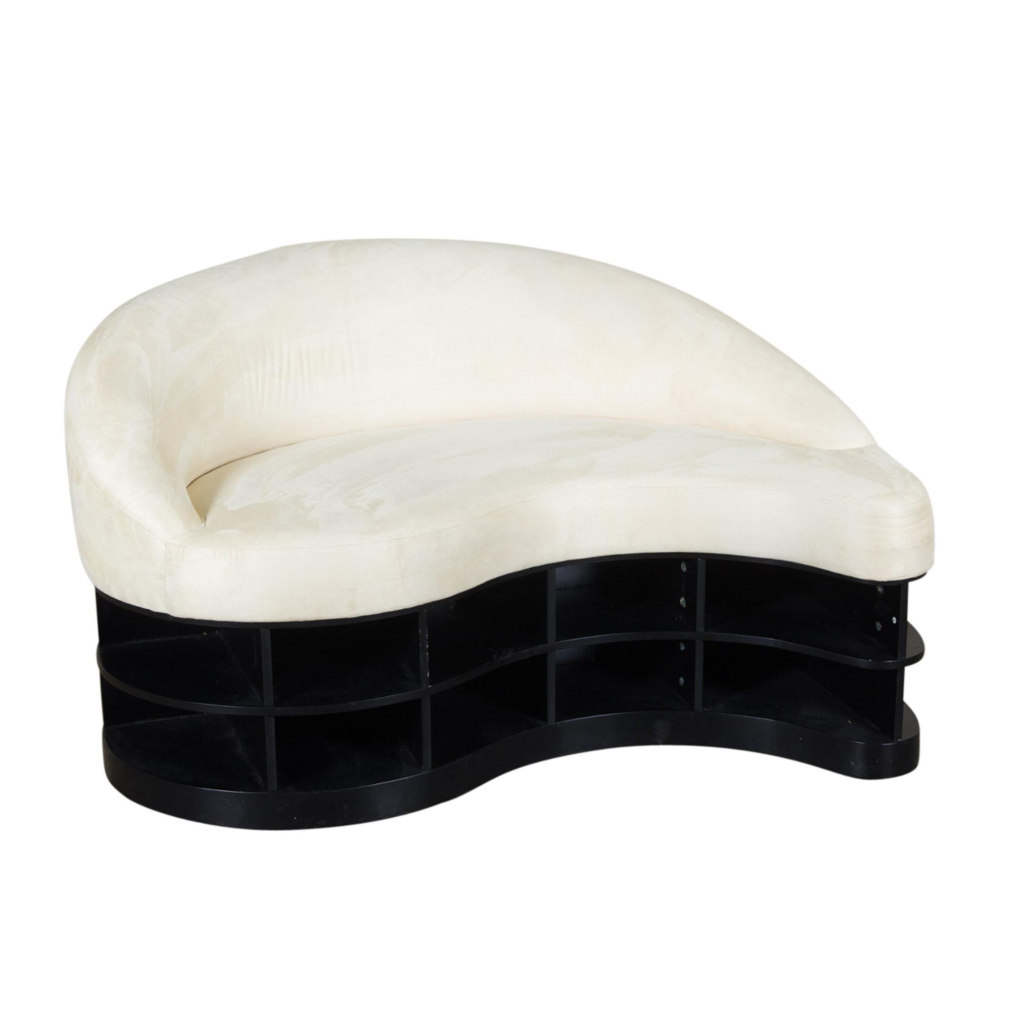 Contemporary Modern Cream Microfiber Sofa