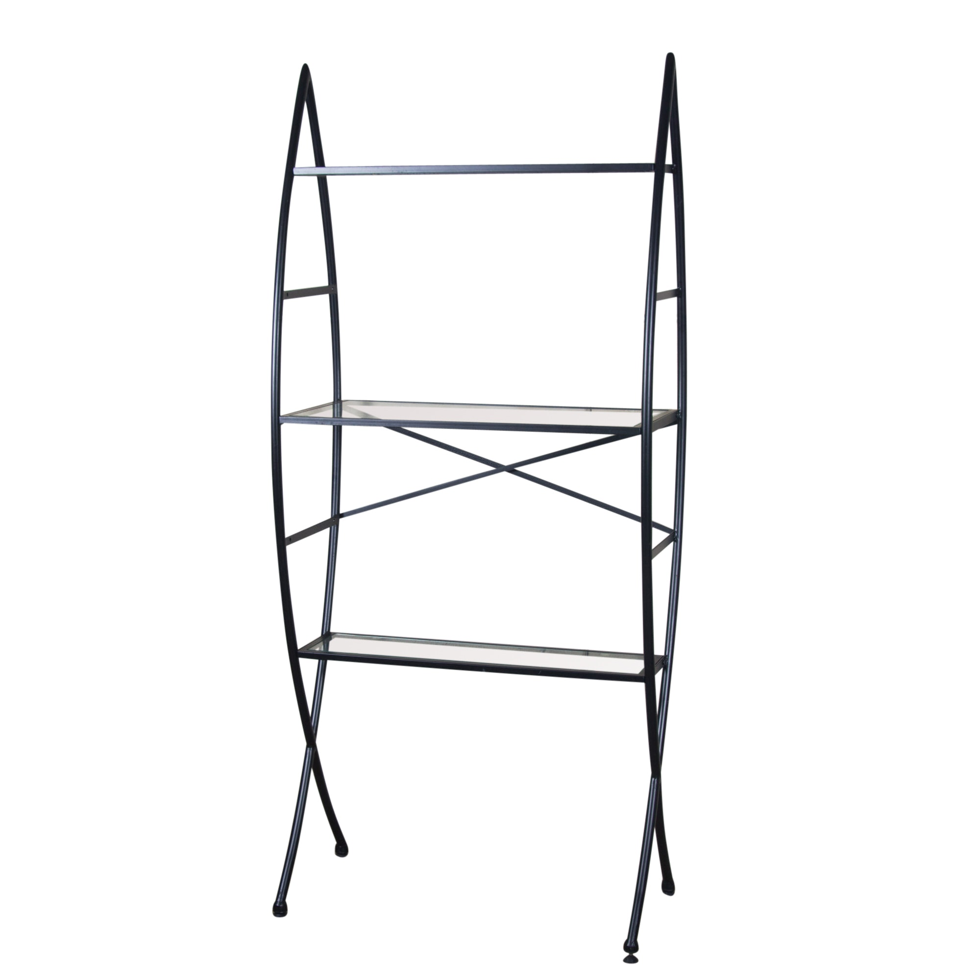 Black Metal and Glass Shelving Unit