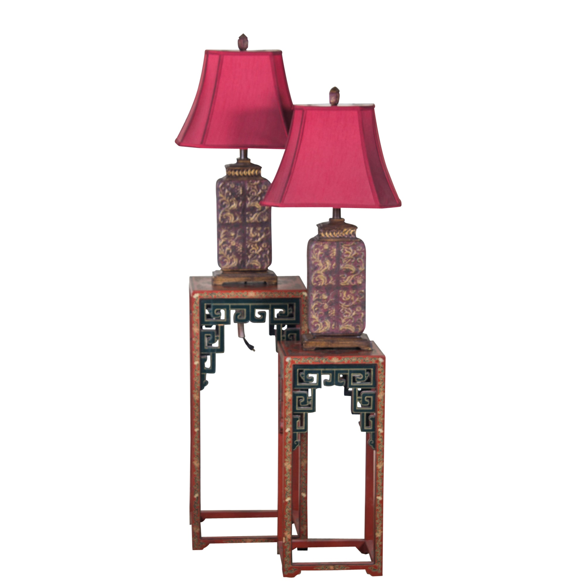 Assortment of Asian Inspired Lamps and Nesting Tables