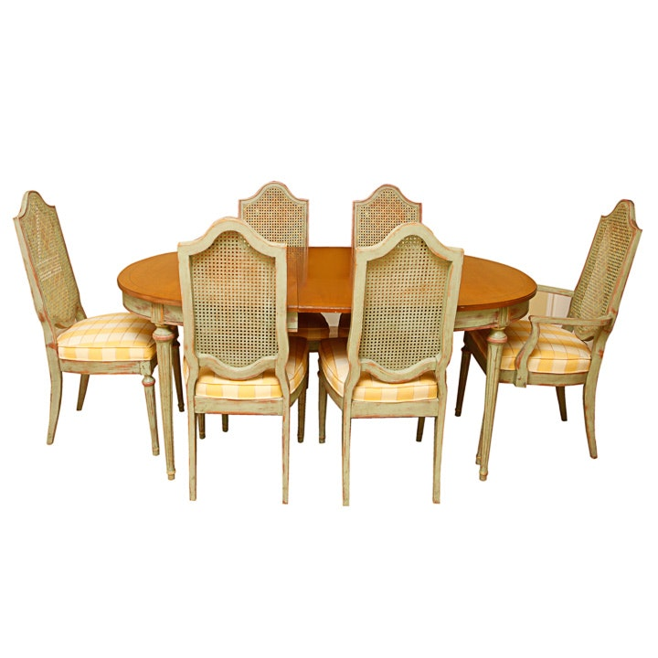 Vintage French Provincial Style Dining Table and Six Chairs