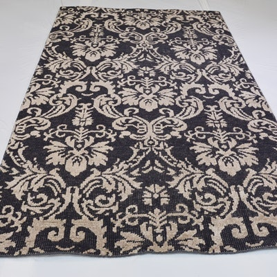 Hand-Knotted Persian Wool and Viscose Area Rug