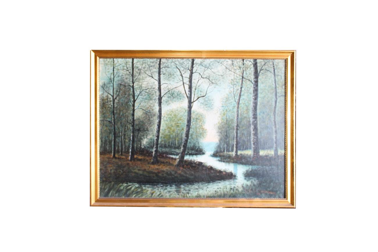 Raphael Senseman Forest Landscape Oil Painting