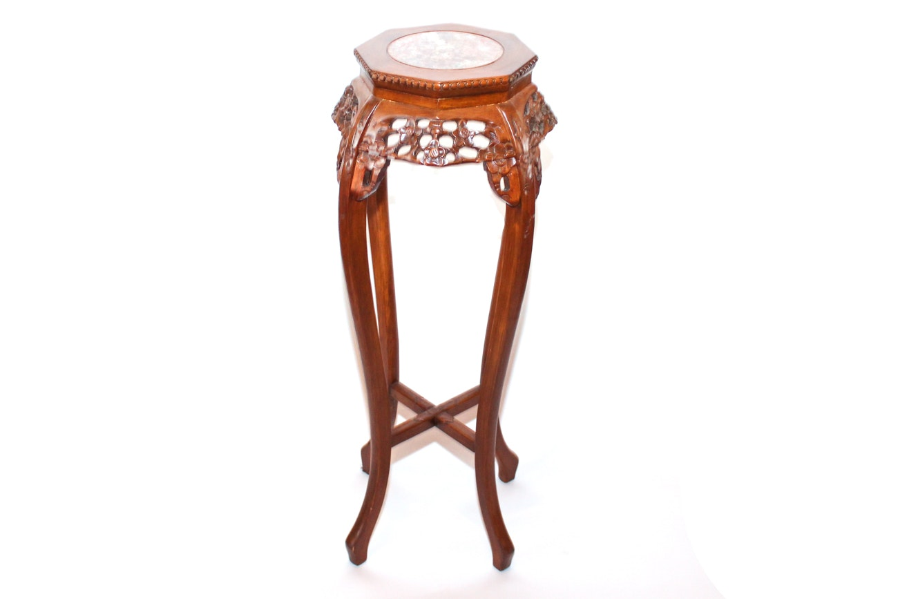 Antique Floral Carved Plant Stand with Stone