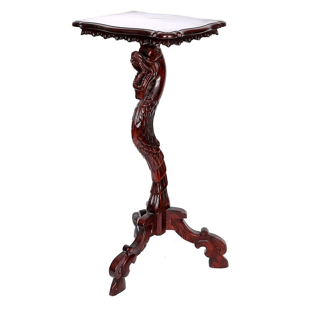Vintage Indonesian Carved Dragon Pedestal Table ...