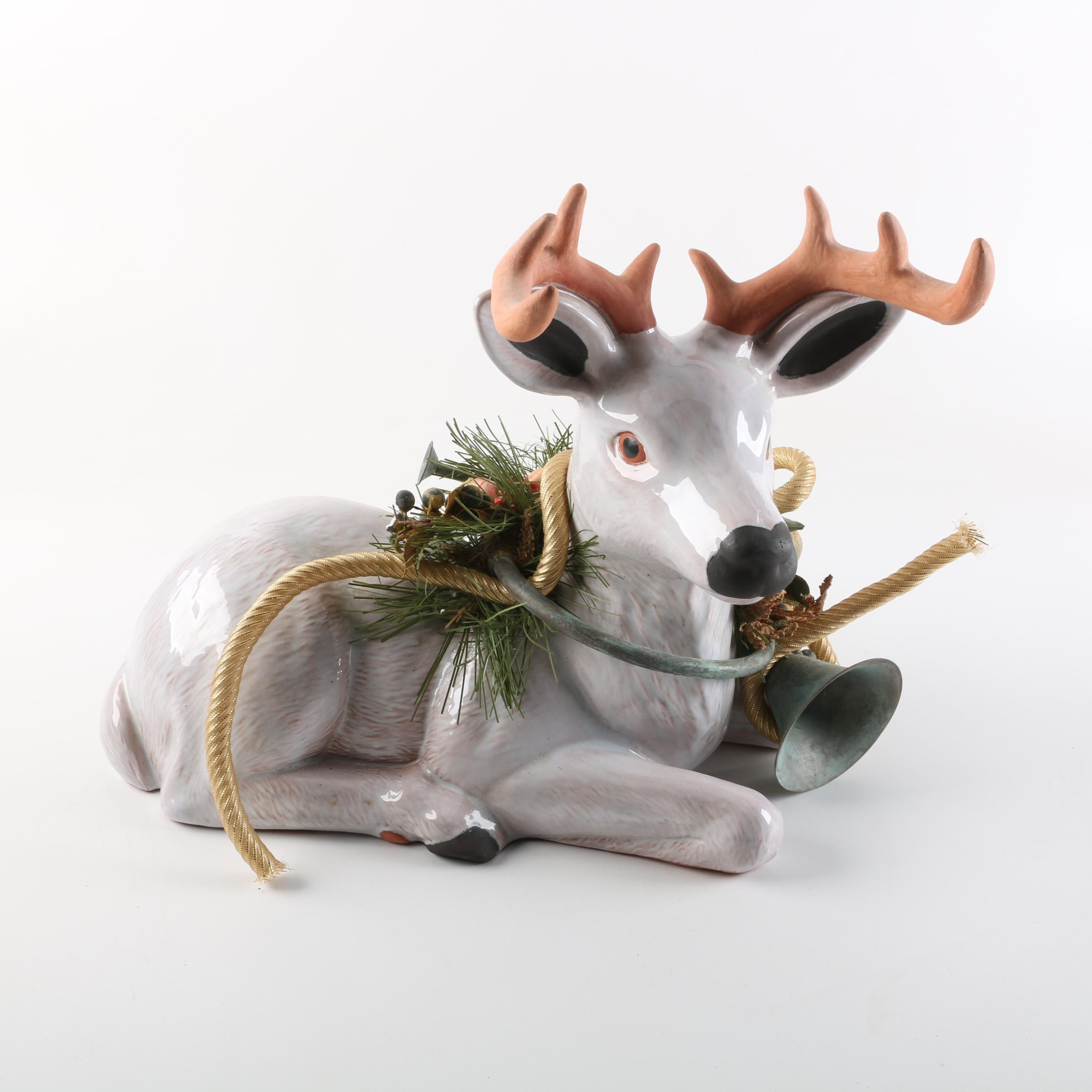 Terracotta Holiday Stag Figurine