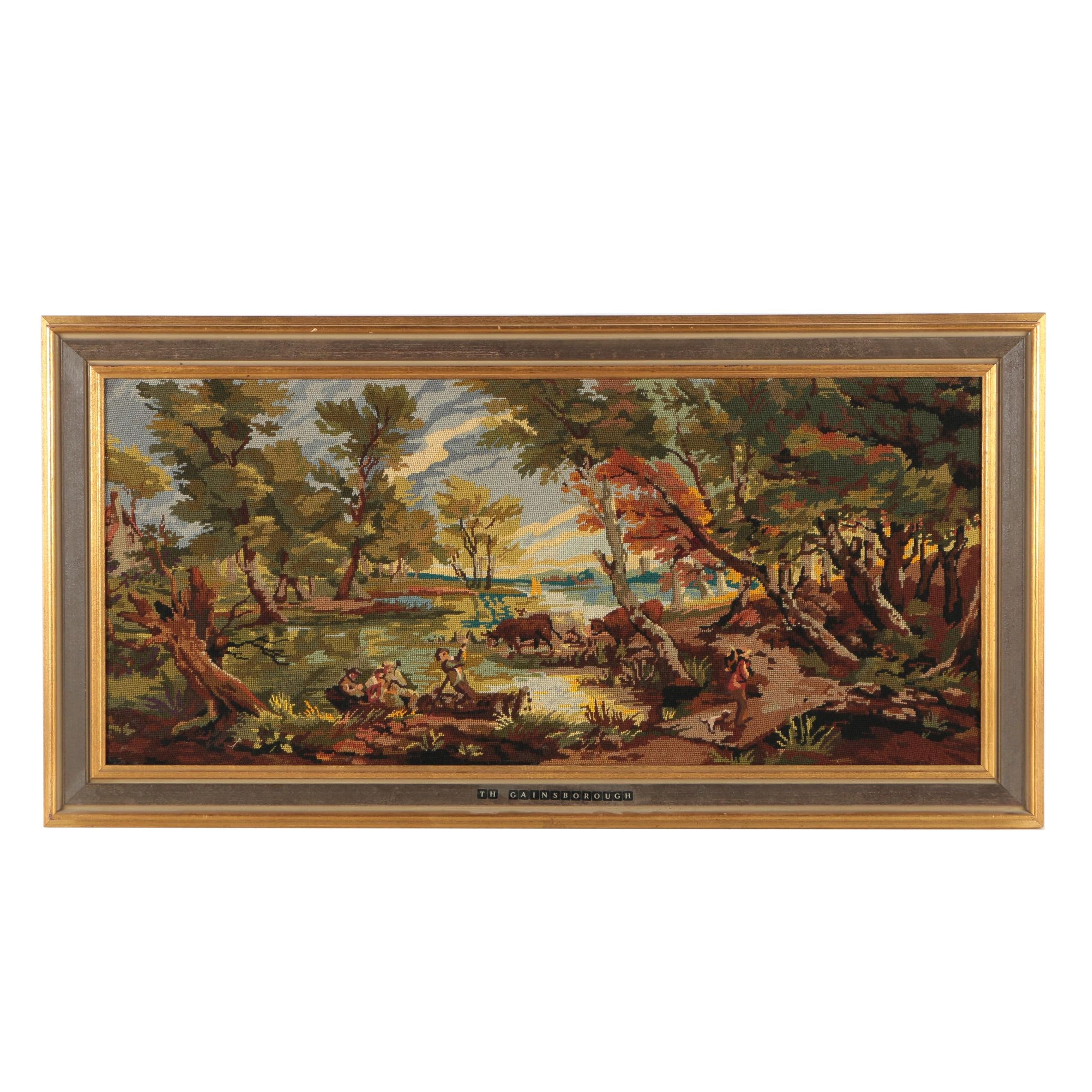 Handmade Needlepoint Composition After Thomas Gainsborough