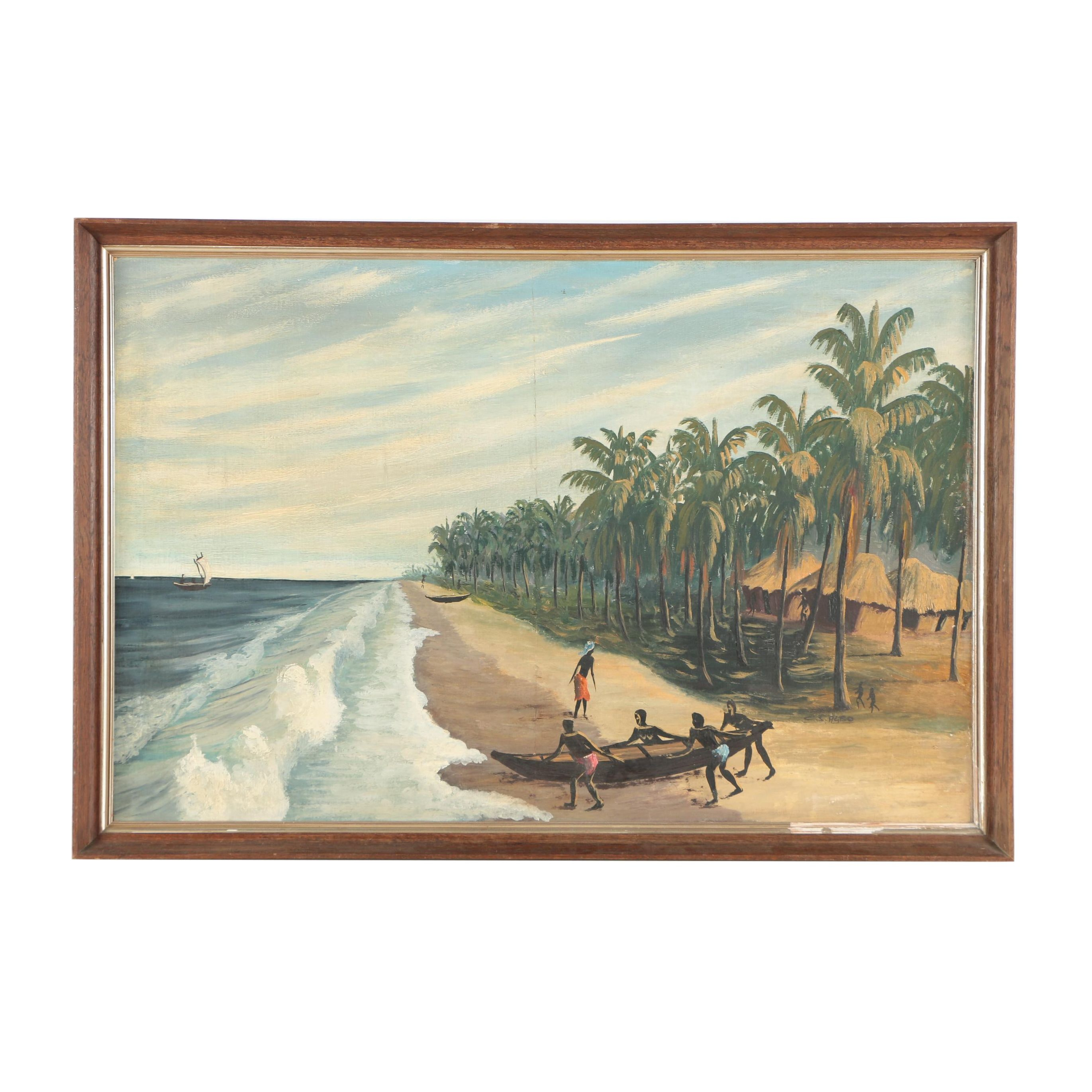 C.S. Agbo Oil Painting of Coastal Scene