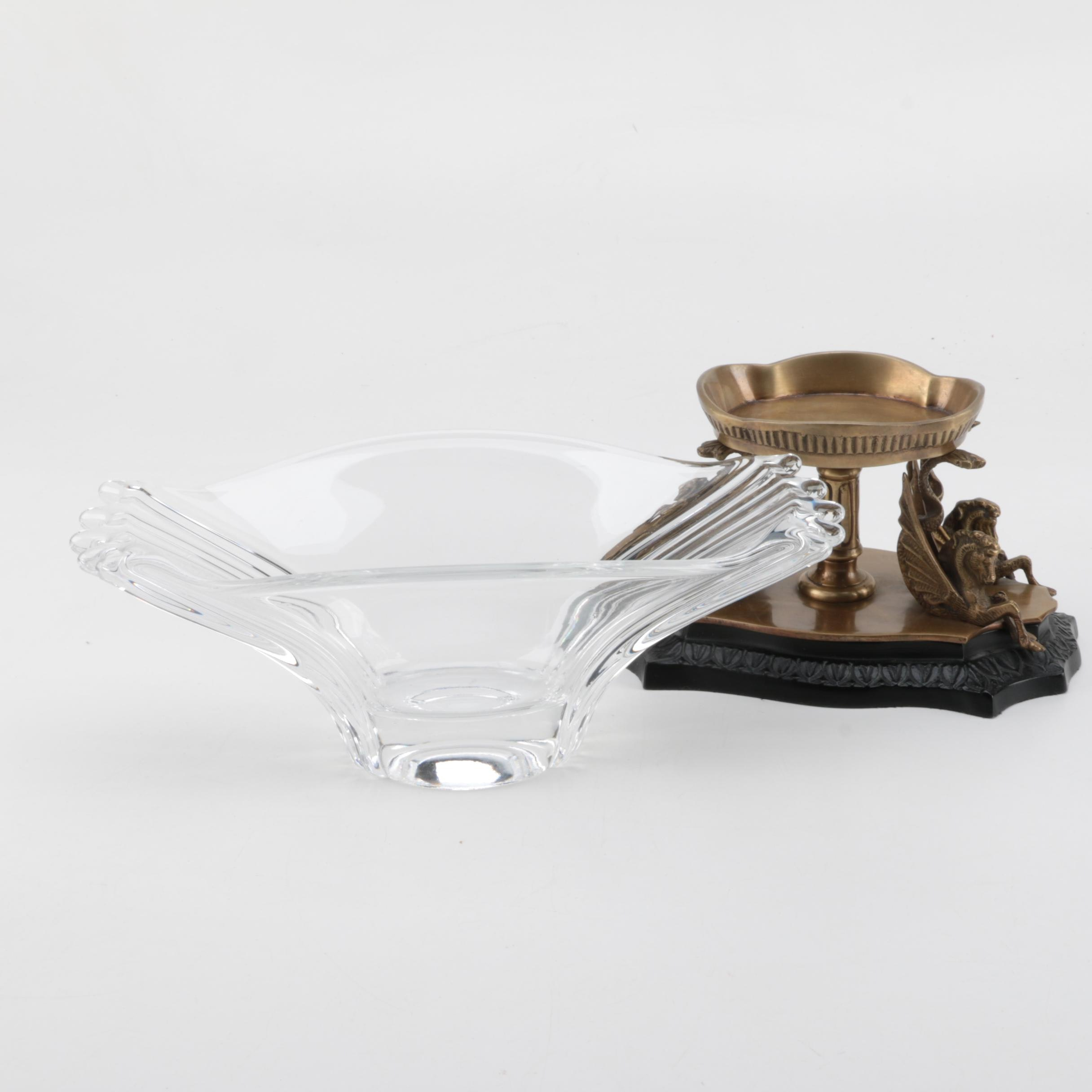 Castilian Imports Crystal Bowl with Brass Pedestal