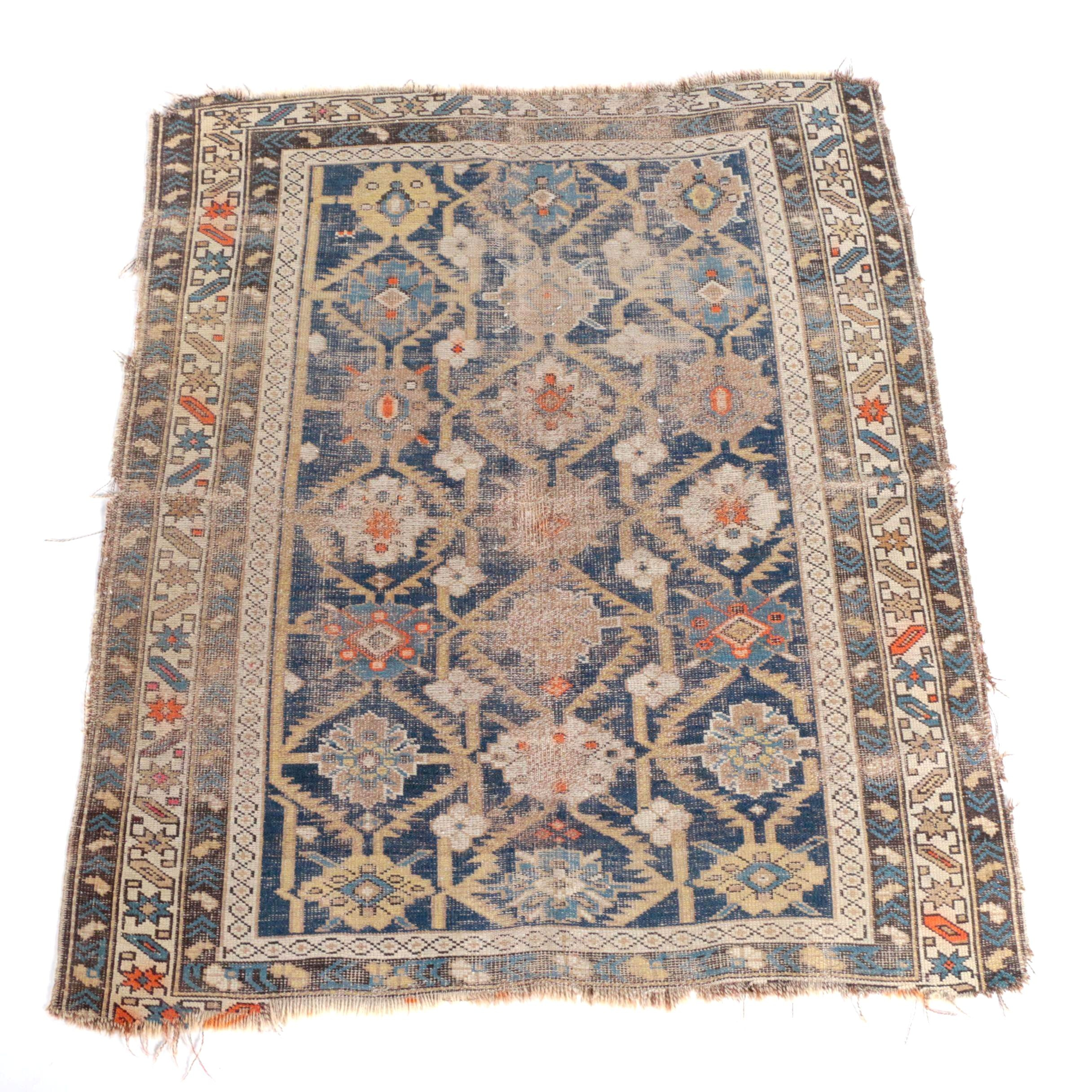 Semi-Antique Handwoven Caucasian Wool Accent Rug