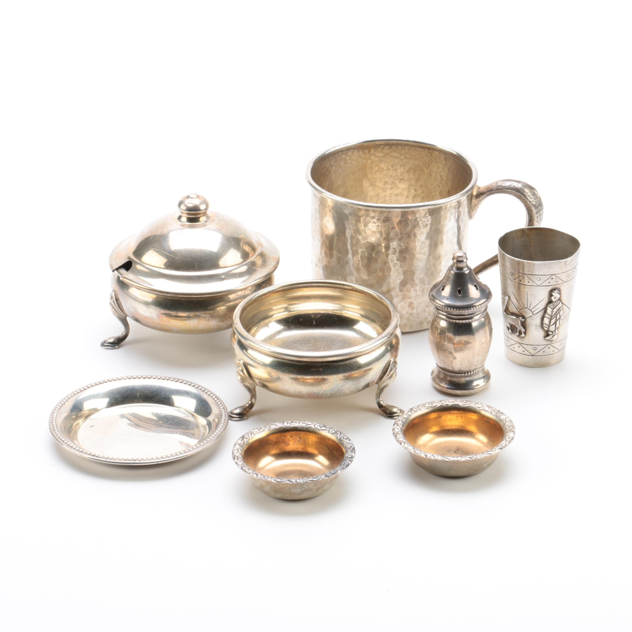 Watrous Hammered Mug with Other Sterling and 800 Silver Tableware