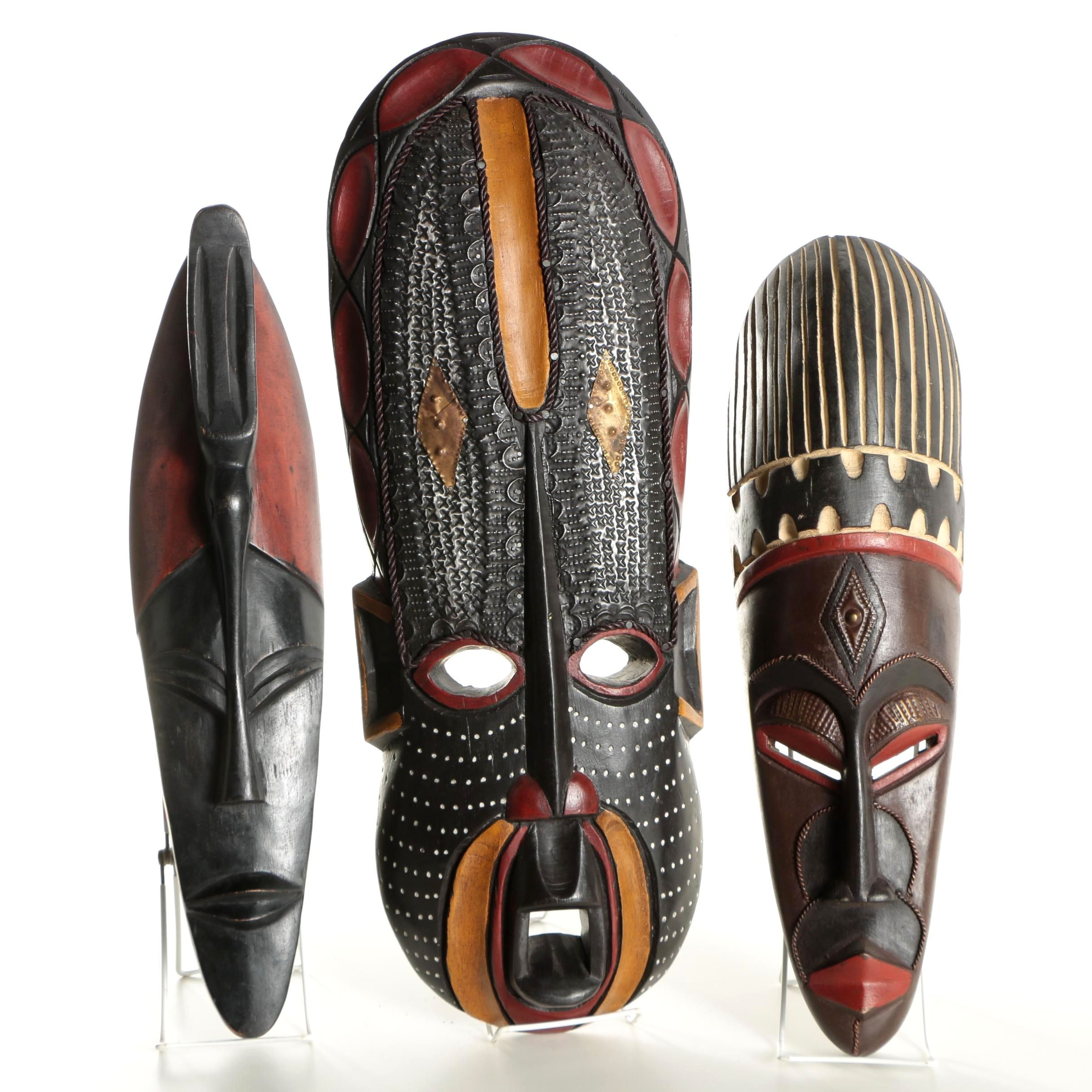Ghanaian Carved Wooden Masks