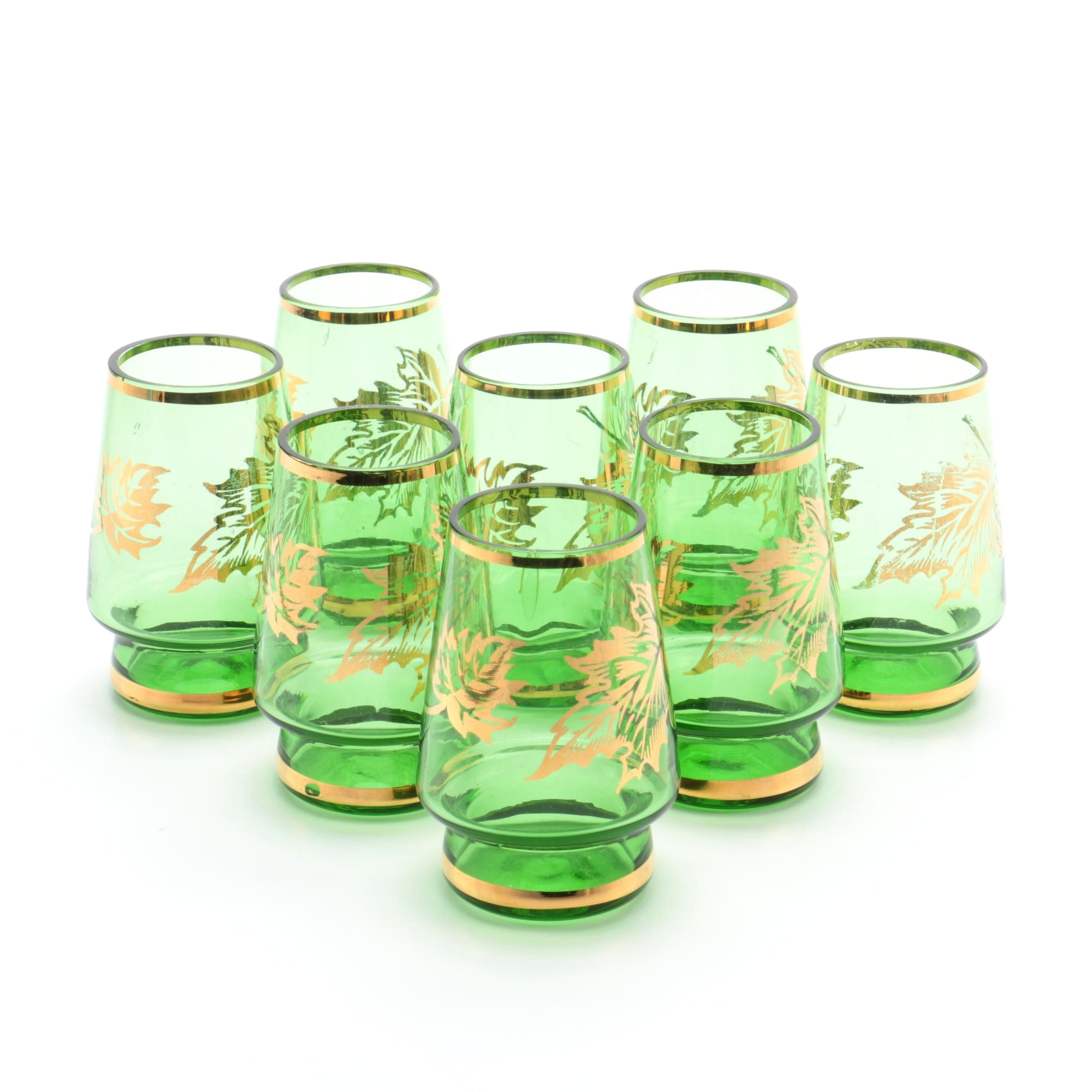 Vintage Green Glass Whiskey Shooters with Gold Leaf Design