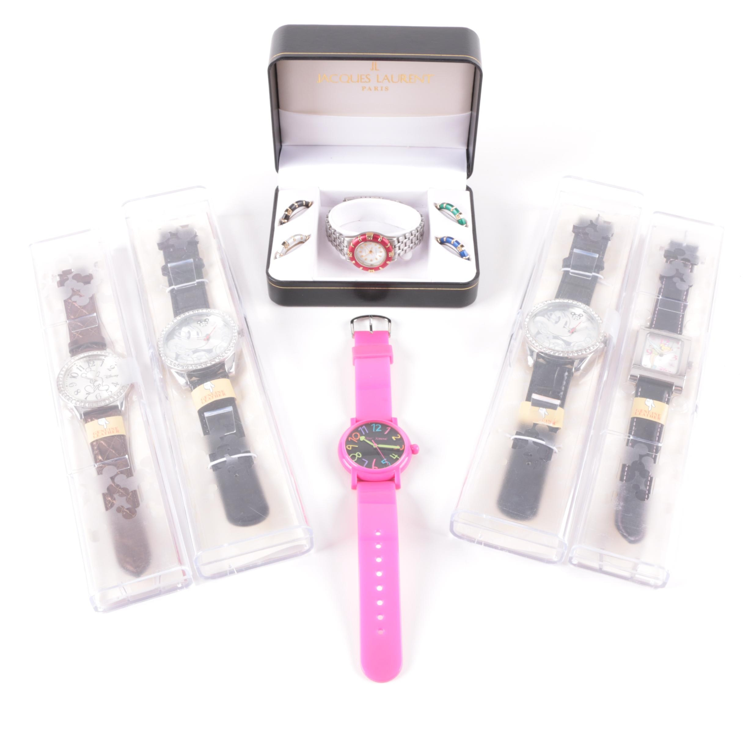 Assortment of Wristwatches Featuring Disney Theme and Betsey Johnson