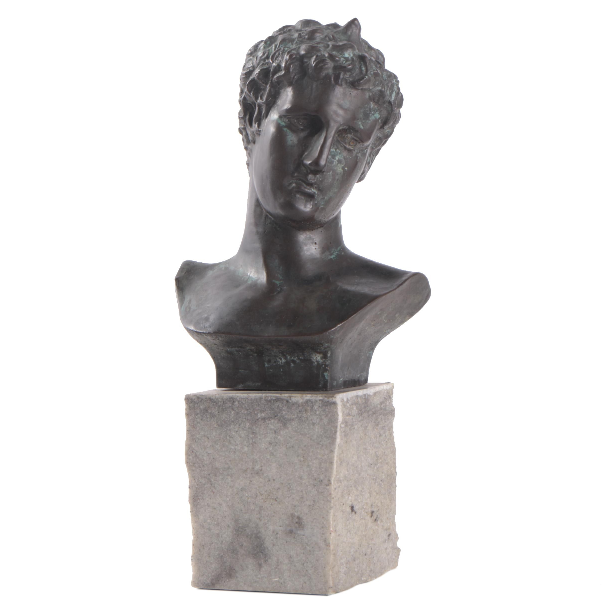 Cast Metal Bust After the Ephebe of Marathon