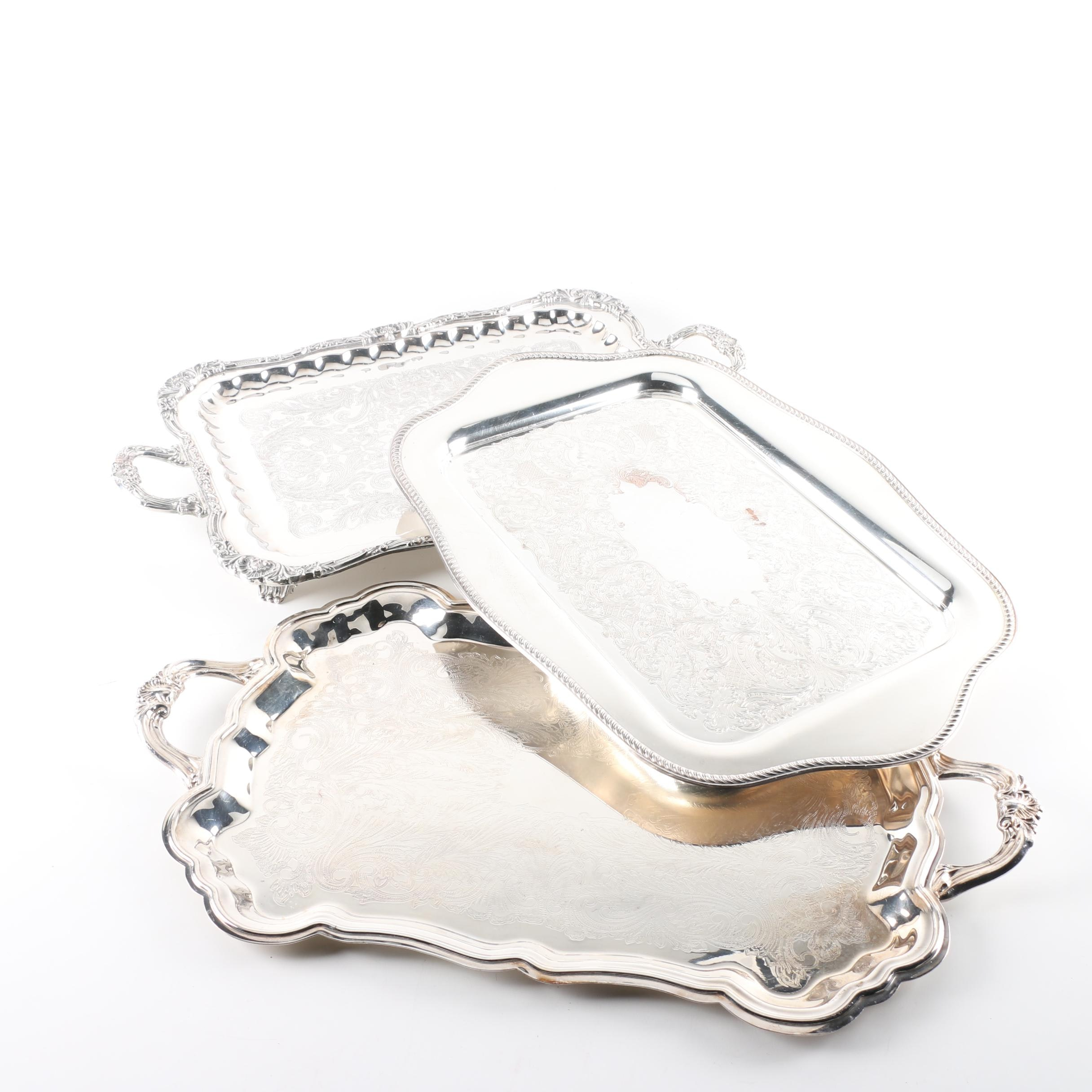 Wm. A. Rogers Silver Plate Tray and Other Silver Plate Trays