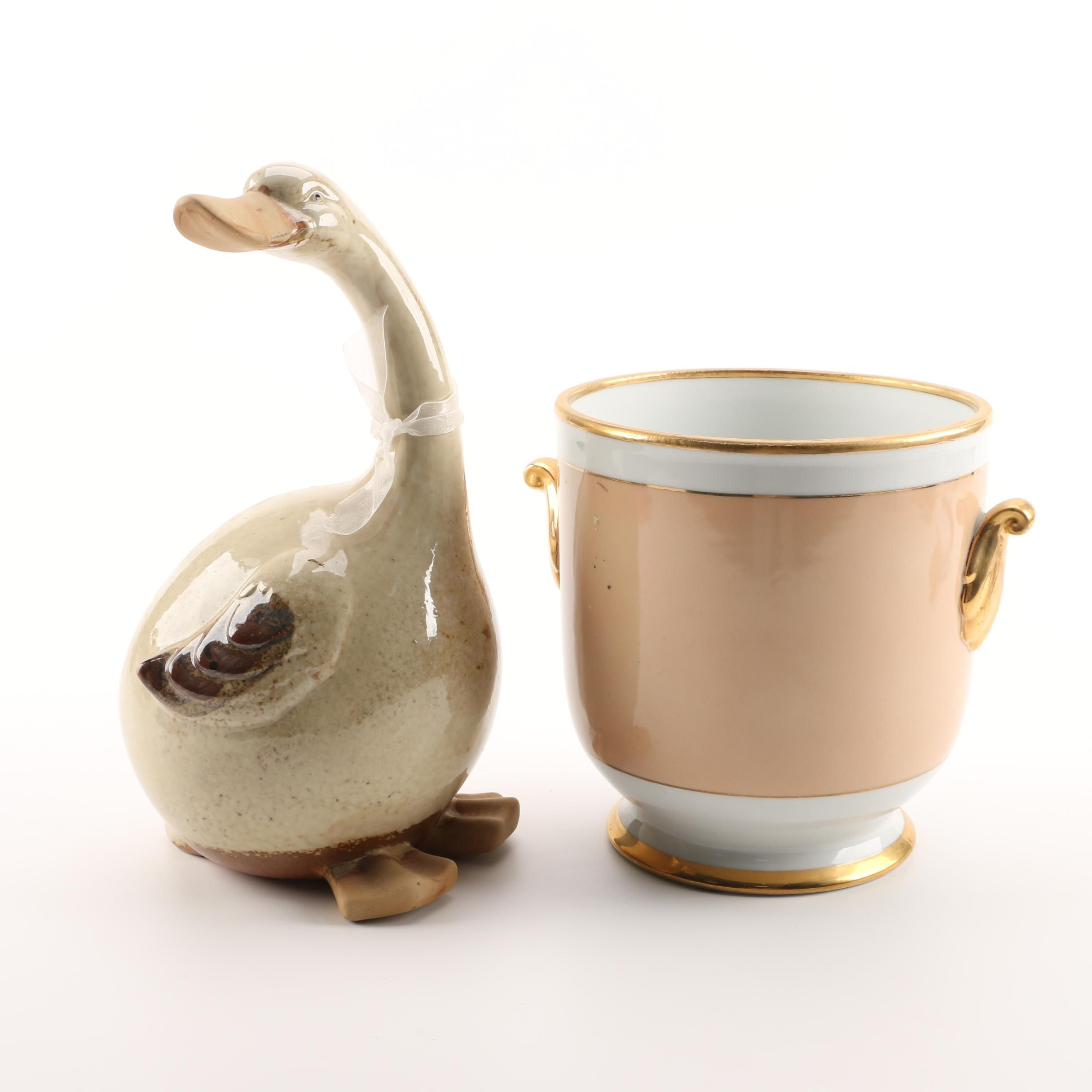 Andrea by Sadek Porcelain Cache Pot with Goose Figurine